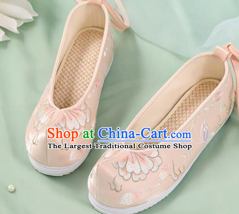Chinese Traditional National Shoes Pink Cloth Shoes Embroidered Peony Shoes Hanfu Shoes Women Shoes Handmade Shoes
