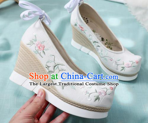Chinese Traditional National Wedges Heel Shoes Cloth Shoes Embroidered Shoes Hanfu Shoes Women Shoes Handmade Shoes