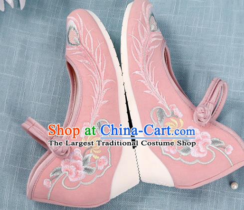 Chinese Traditional National Shoes Pink Cloth Shoes Embroidered Shoes Hanfu Shoes Women Shoes Increased Within Shoes