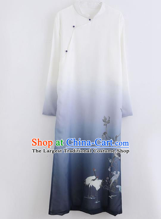 Republic of China National Printing Chiffon Robe Traditional Tang Suit Costume Comic Dialogue Long Gown for Men