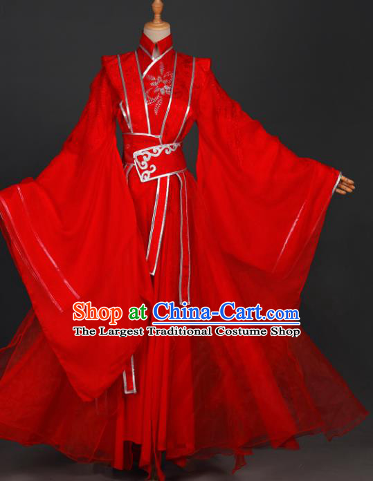 Traditional Chinese Cosplay Prince Wei Wuxian Costumes Ancient Swordsman Garment Childe Red Wedding Clothing for Men