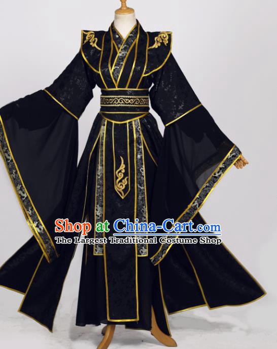 Traditional Chinese Cosplay Chivalrous Male Costumes Ancient Royal Prince Garment Swordsman Black Clothing for Men