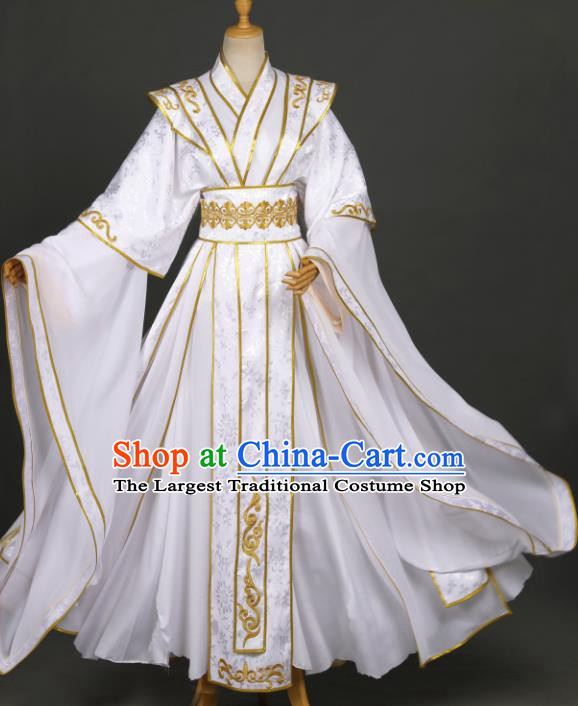 Traditional Chinese Cosplay Chivalrous Knight White Costumes Ancient Royal Prince Xie Lian Garment Swordsman Clothing for Men