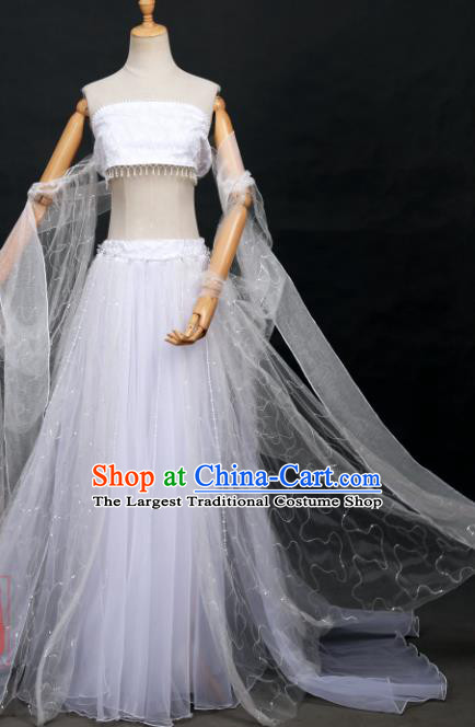 Traditional Chinese Cosplay Fairy Classical Dance White Hanfu Dress Costumes Ancient Female Swordsman Clothing for Women