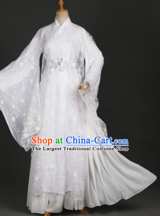 Traditional Chinese Cosplay Goddess Princess White Hanfu Dress Costumes Ancient Female Swordsman Clothing Heroine Apparel for Women