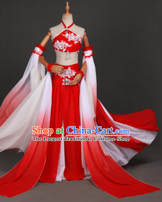 Traditional Chinese Cosplay Goddess Red Hanfu Dress Costumes Ancient Fairy Princess Clothing Classical Dance Apparel for Women
