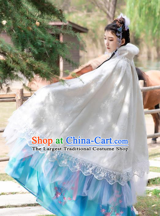 Traditional Chinese Cosplay Goddess Hanfu Dress Costumes Ancient Princess Clothing White Lace Cloak for Women