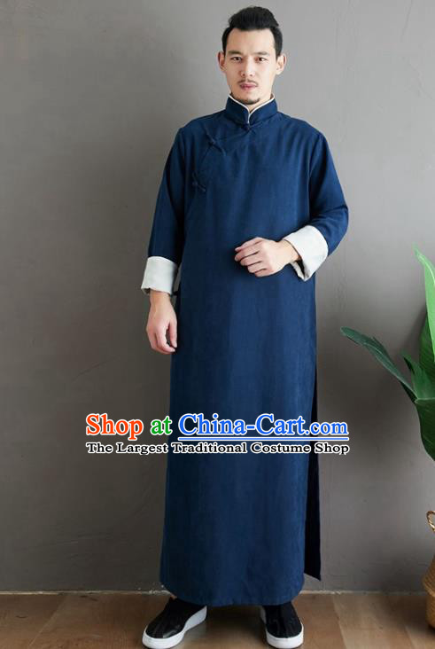 Republic of China National Navy Robe Traditional Tang Suit Costume Comic Dialogue Long Gown for Men