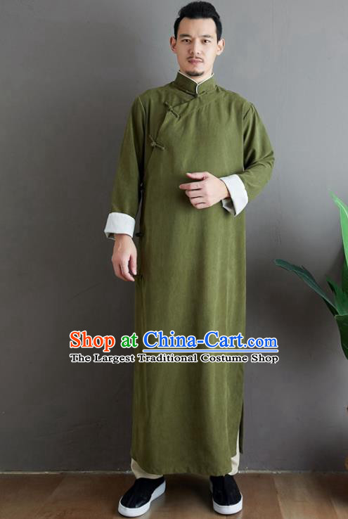 Republic of China National Olive Green Robe Traditional Tang Suit Costume Comic Dialogue Long Gown for Men