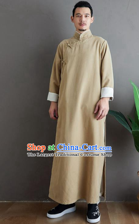 Republic of China National Beige Robe Traditional Tang Suit Costume Comic Dialogue Long Gown for Men