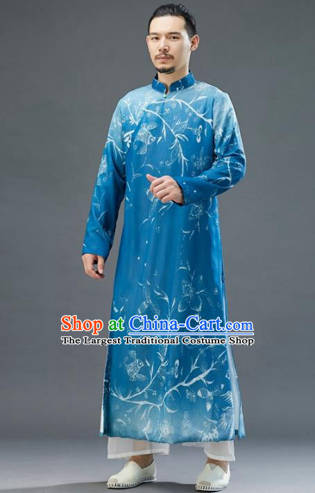 Republic of China National Blue Chiffon Robe Traditional Tang Suit Costume Printing Long Gown for Men