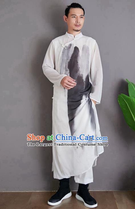 Republic of China National Ink Painting Robe Traditional Tang Suit Costume Comic Dialogue White Chiffon Long Gown for Men