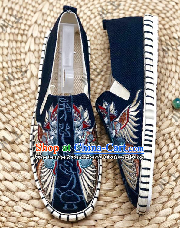 Chinese Traditional National Embroidery Navy Cloth Shoes Martial Arts Shoes Men Shoes Handmade Shoes Embroidered Shoes