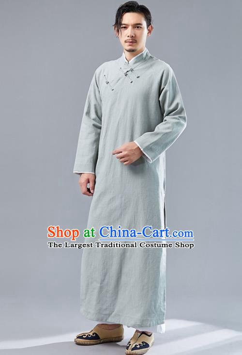 Republic of China National Light Green Flax Robe Traditional Tang Suit Costume Comic Dialogue Long Gown for Men