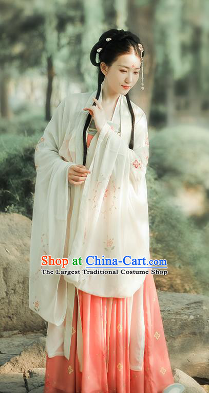 Traditional Chinese Tang Dynasty Noble Princess Costumes Ancient Palace Lady Hanfu Dress Embroidered Cape Blouse and Skirt Full Set