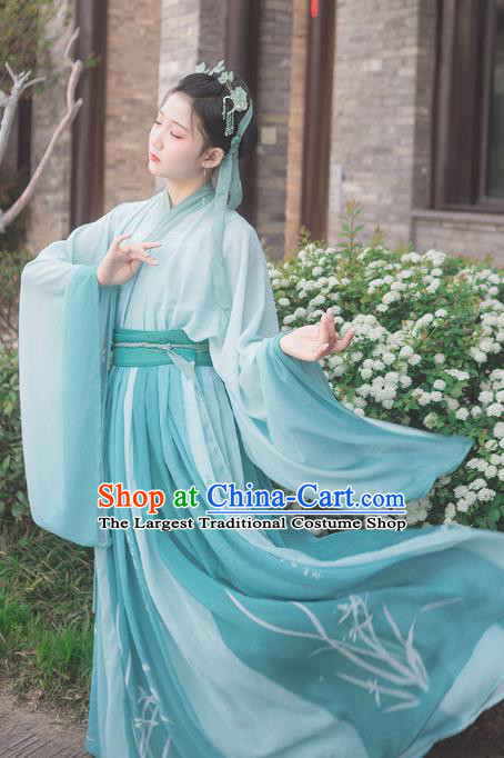 Traditional Chinese Jin Dynasty Noble Lady Costumes Ancient Female Scholar Green Hanfu Dress for Women