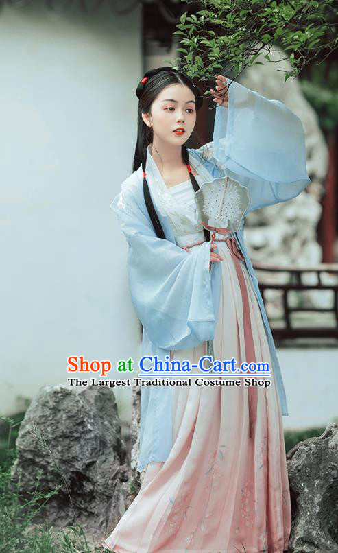 Traditional Chinese Song Dynasty Noble Lady Costumes Ancient Patrician Girl Hanfu Dress Embroidered BeiZi Blouse and Skirt Full Set