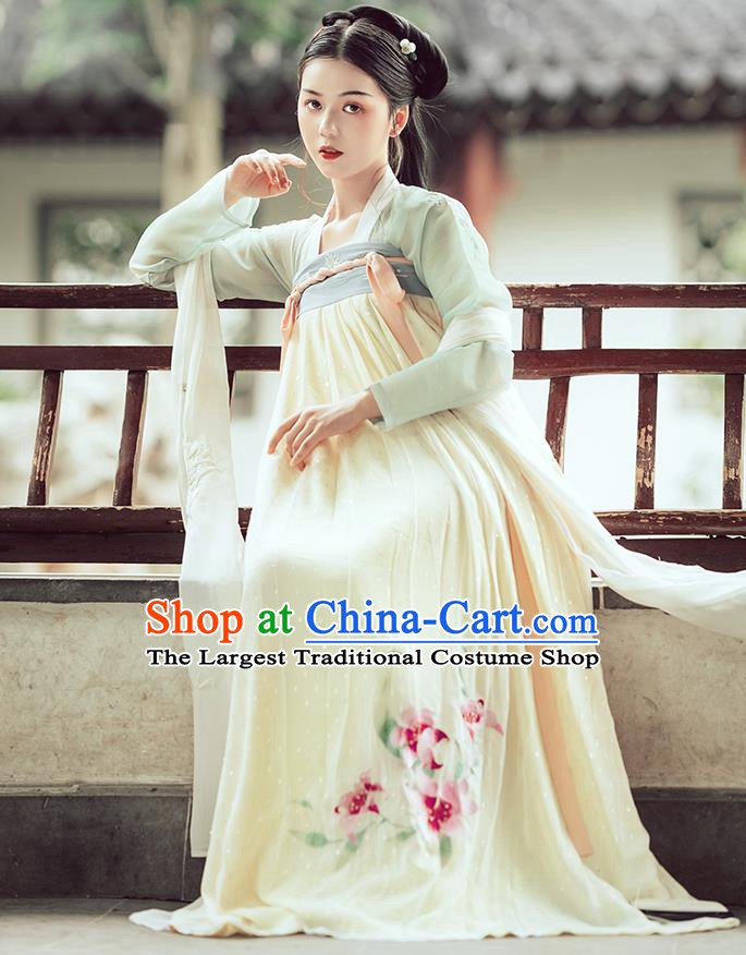 Traditional Chinese Tang Dynasty Palace Lady Costumes Ancient Court Maid Embroidered Blouse and Skirt Hanfu Dress Full Set