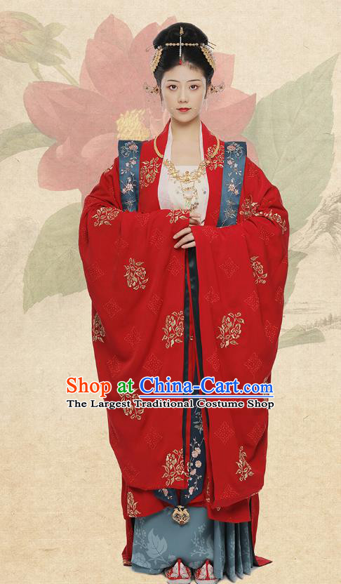 Traditional Chinese Song Dynasty Noble Lady Wedding Costumes Ancient Court Bride Embroidered Red Hanfu Dress Complete Set