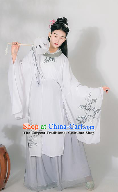 Traditional Chinese Ming Dynasty Historical Costumes Ancient Noble Lady Hanfu Dress Apparel White Robe and Skirt for Women