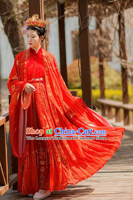 Traditional Chinese Jin Dynasty Wedding Historical Costumes Ancient Noble Princess Red Hanfu Dress Apparel Cloak and Blouse Skirt for Women