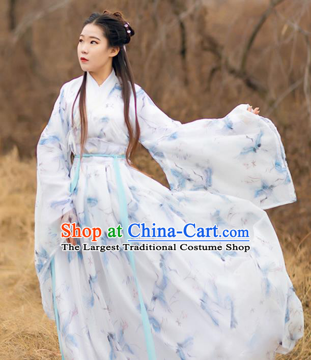 Traditional Chinese Jin Dynasty Young Lady Historical Costumes Ancient Princess Printing Cranes White Chiffon Hanfu Dress Apparel for Women