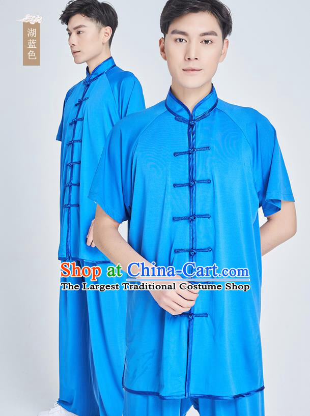 Top Grade Kung Fu Costume Martial Arts Training Lake Blue Milk Fiber Uniform Shaolin Gongfu Tai Ji Clothing for Men