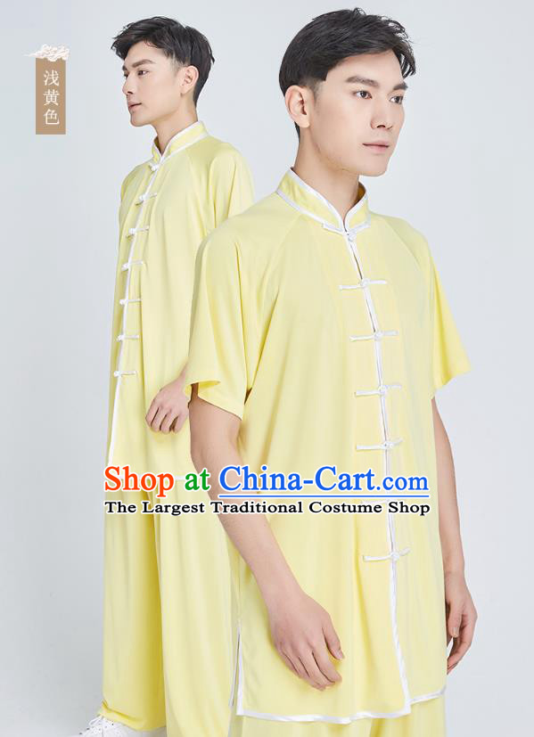 Top Grade Kung Fu Costume Martial Arts Training Yellow Milk Fiber Uniform Shaolin Gongfu Tai Ji Clothing for Men