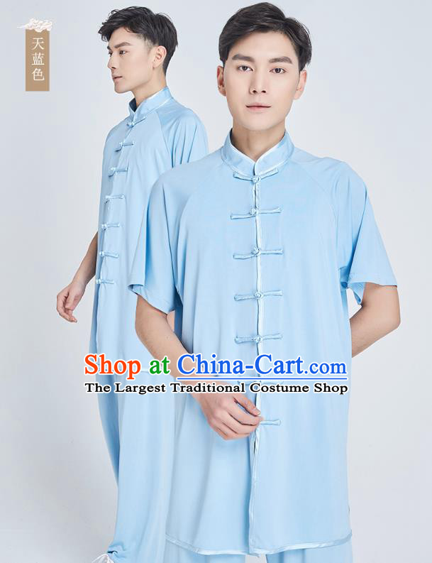 Top Grade Kung Fu Costume Martial Arts Training Light Blue Milk Fiber Uniform Shaolin Gongfu Tai Ji Clothing for Men