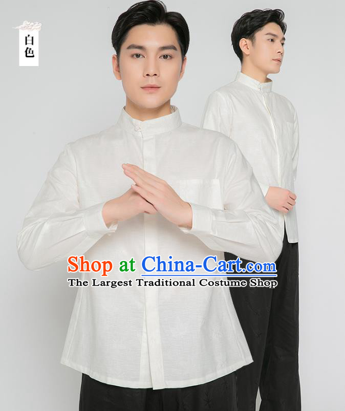Asian Chinese Traditional Martial Arts Costumes China Kung Fu Outfits White Flax Shirt and Black Pants for Men