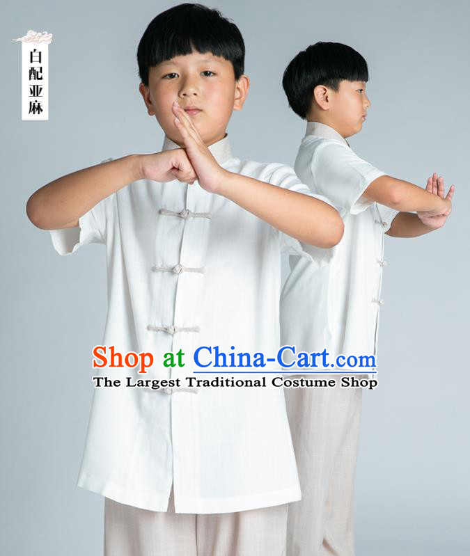 Asian Chinese Traditional Tai Chi White Linen Shirt and Pants Martial Arts Costumes China Kung Fu Outfits for Kids