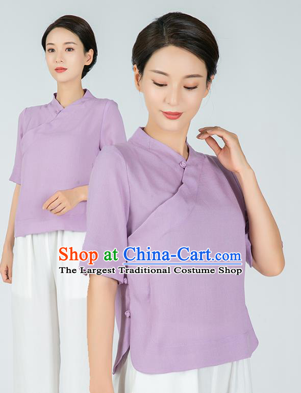 Professional Chinese Tai Chi Lilac Flax Short Sleeve Blouse Martial Arts Shaolin Gongfu Costumes Kung Fu Training Garment Tang Suit Upper Outer for Women