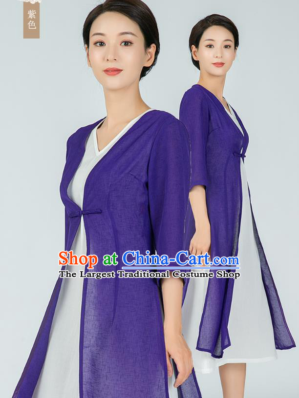 Asian Chinese Traditional Tang Suit Purple Flax Cloak Dress Martial Arts Costumes China Kung Fu Clothing for Women