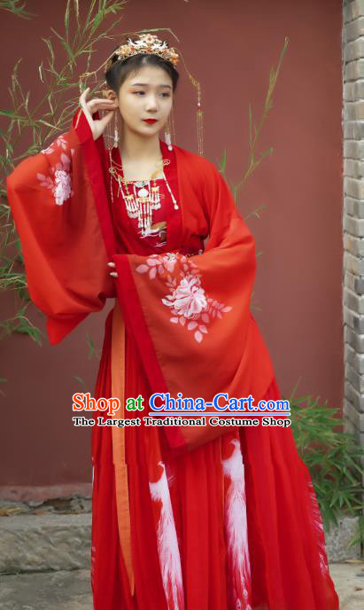 Traditional Chinese Tang Dynasty Bride Historical Costumes Ancient Royal Princess Hanfu Dress Apparel Wedding Blouse and Skirt for Women