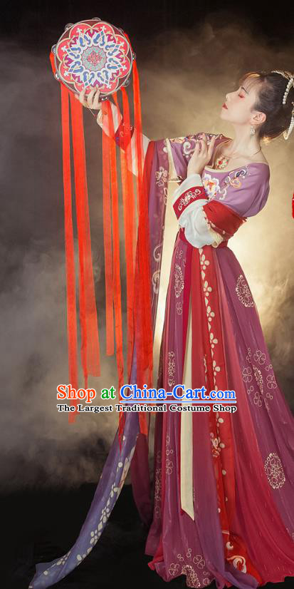 Traditional Chinese Tang Dynasty Court Maid Historical Costumes Ancient Palace Lady Hanfu Dress Apparel Half Sleeved Garment Blouse and Skirt Full Set