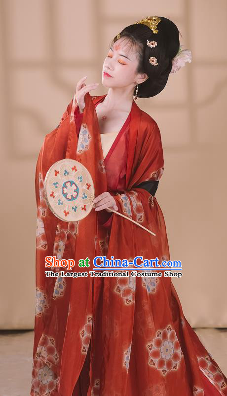 Traditional Chinese Tang Dynasty Noble Concubine Historical Costumes Ancient Court Woman Hanfu Garment Printing Red Chiffon Cloak Blouse Camisole and Skirt Full Set