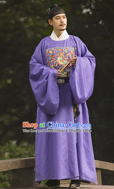 China Ancient Official Embroidered Hanfu Robe Traditional Ming Dynasty Noble Childe Historical Clothing for Men