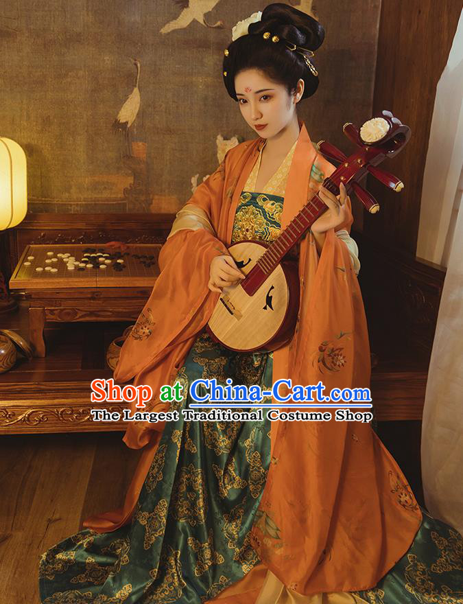 Ancient China Palace Beauty Embroidered Hanfu Dress Traditional Tang Dynasty Imperial Consort Historical Clothing
