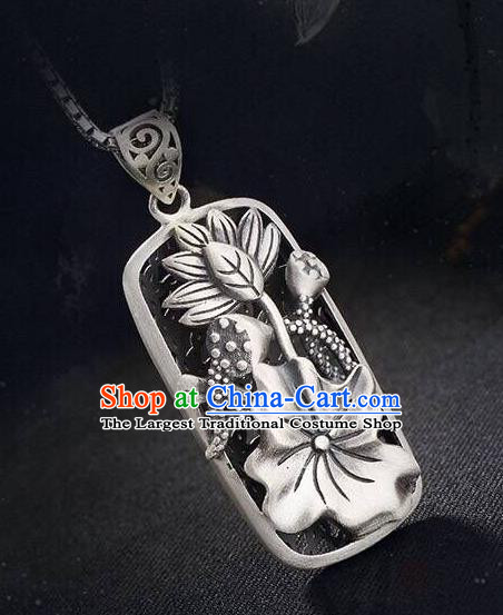 Handmade China Classical Cheongsam Silver Necklace Jewelry Carving Lotus Pendant Accessories