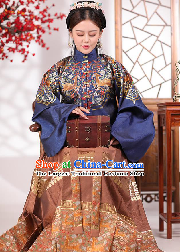China Traditional Ming Dynasty Young Mistress Historical Costumes Ancient Imperial Countess Hanfu Dress Apparels