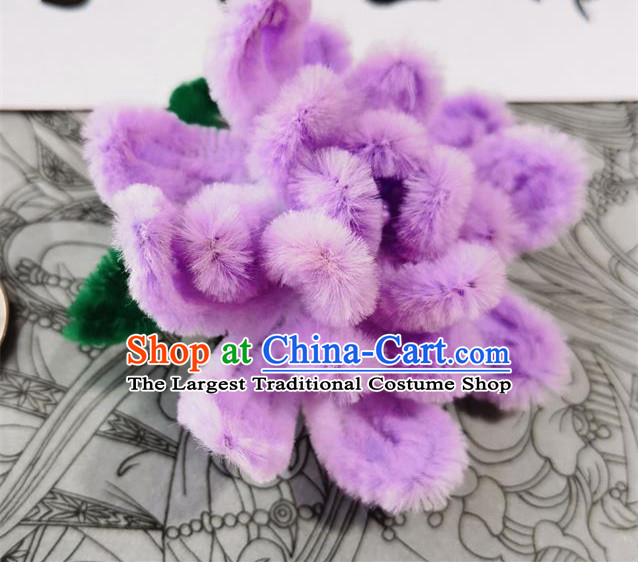 China Traditional Hanfu Purple Velvet Camellia Hairpin Handmade Hair Stick Ancient Princess Hair Accessories