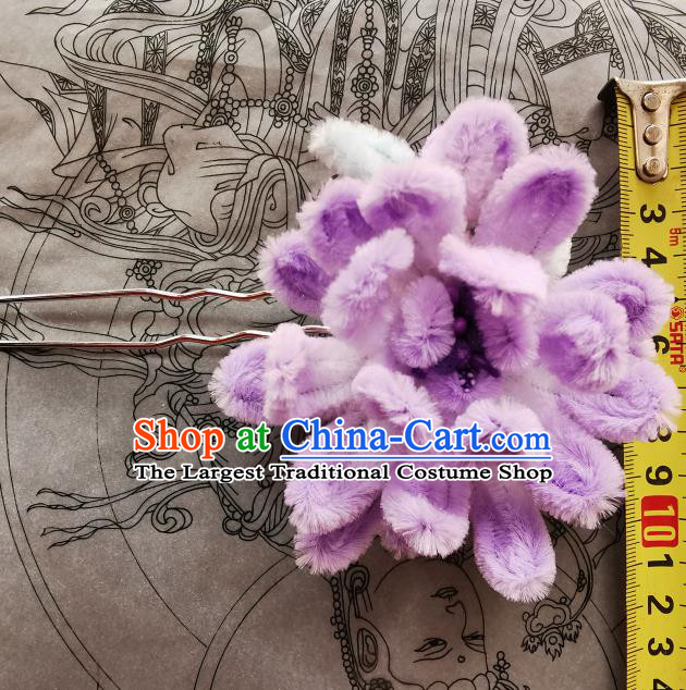 China Handmade Purple Velvet Camellia Hair Stick Ancient Princess Hair Accessories Traditional Hanfu Hairpin