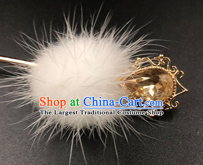 China Traditional Yellow Crystal Hair Accessories Ancient Hanfu Hairpin Ming Dynasty Princess Hair Stick