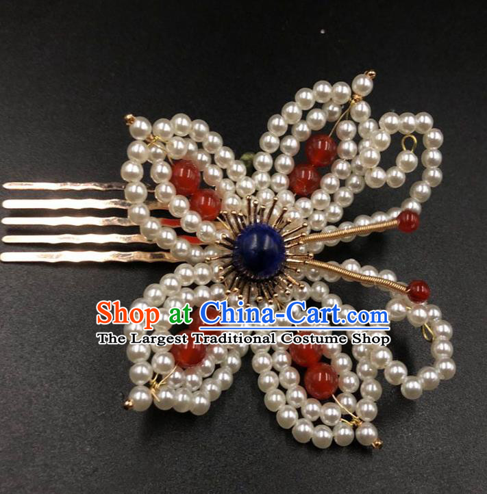 China Traditional Hanfu Hair Accessories Ming Dynasty Hairpin Ancient Princess Pearls Butterfly Hair Comb