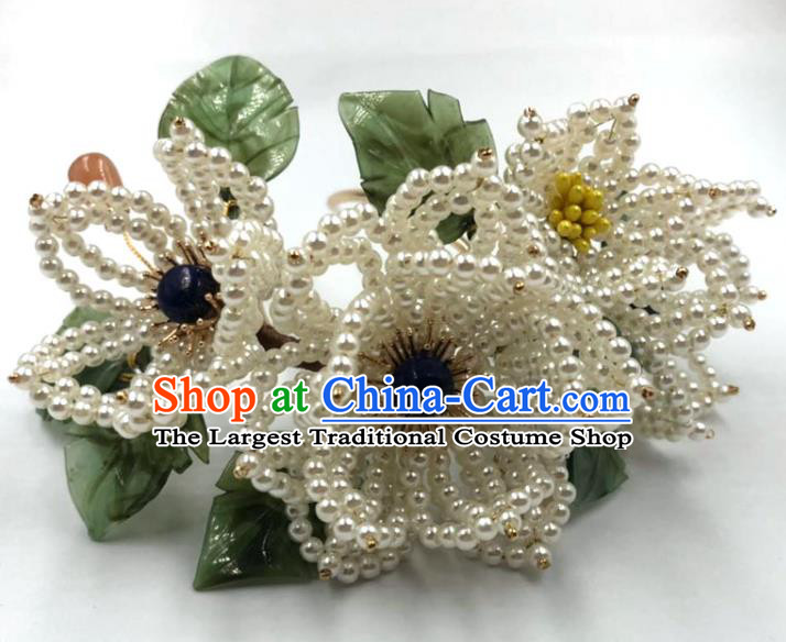 China Traditional Hanfu Flowers Hair Accessories Ming Dynasty Hairpin Ancient Princess Beads Hair Stick