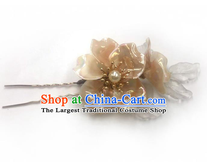 China Ming Dynasty Champagne Flowers Hairpin Traditional Hanfu Hair Accessories Ancient Princess Hair Stick