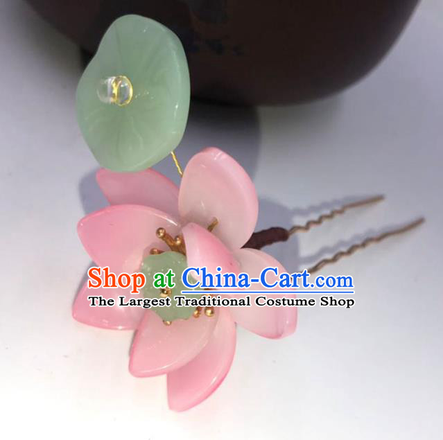 China Ming Dynasty Pink Lotus Hairpin Traditional Hanfu Hair Accessories Ancient Princess Jade Leaf Hair Stick