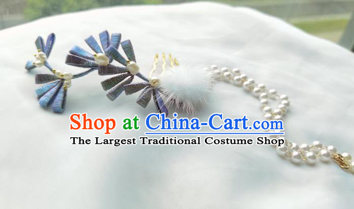 China Ming Dynasty Silk Flowers Hairpin Traditional Hanfu Hair Accessories Ancient Princess Beads Tassel Hair Stick