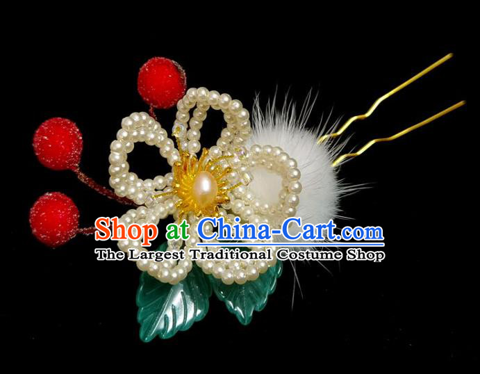 China Ming Dynasty Red Berry Hairpin Traditional Hanfu Hair Accessories Ancient Princess Pearls Plum Hair Stick
