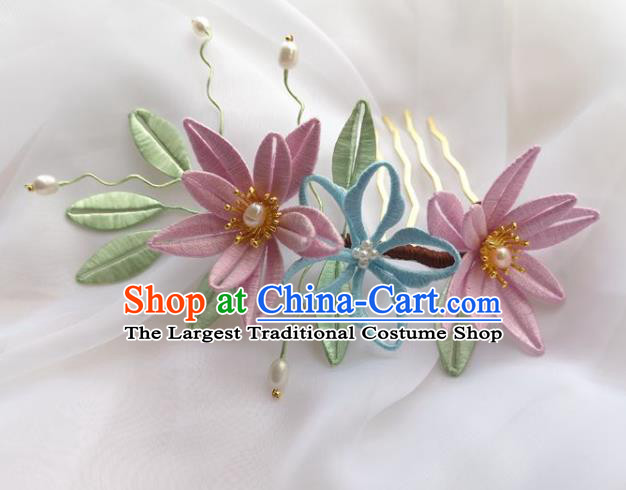 China Ming Dynasty Pink Silk Flowers Hairpin Traditional Hanfu Hair Accessories Ancient Princess Pearls Hair Comb